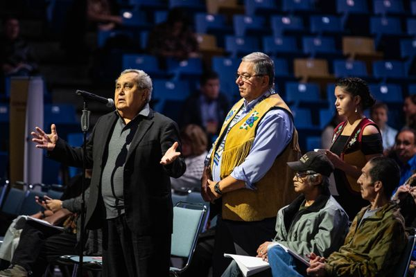 Sealaska board member Albert Kookesh speaks during discussion of Alaska Federation of Natives convention resolutions on Saturday, Oct. 19, 2019 during the AFN convention at the Carlson Center in Fairbanks. (Loren Holmes / ADN)