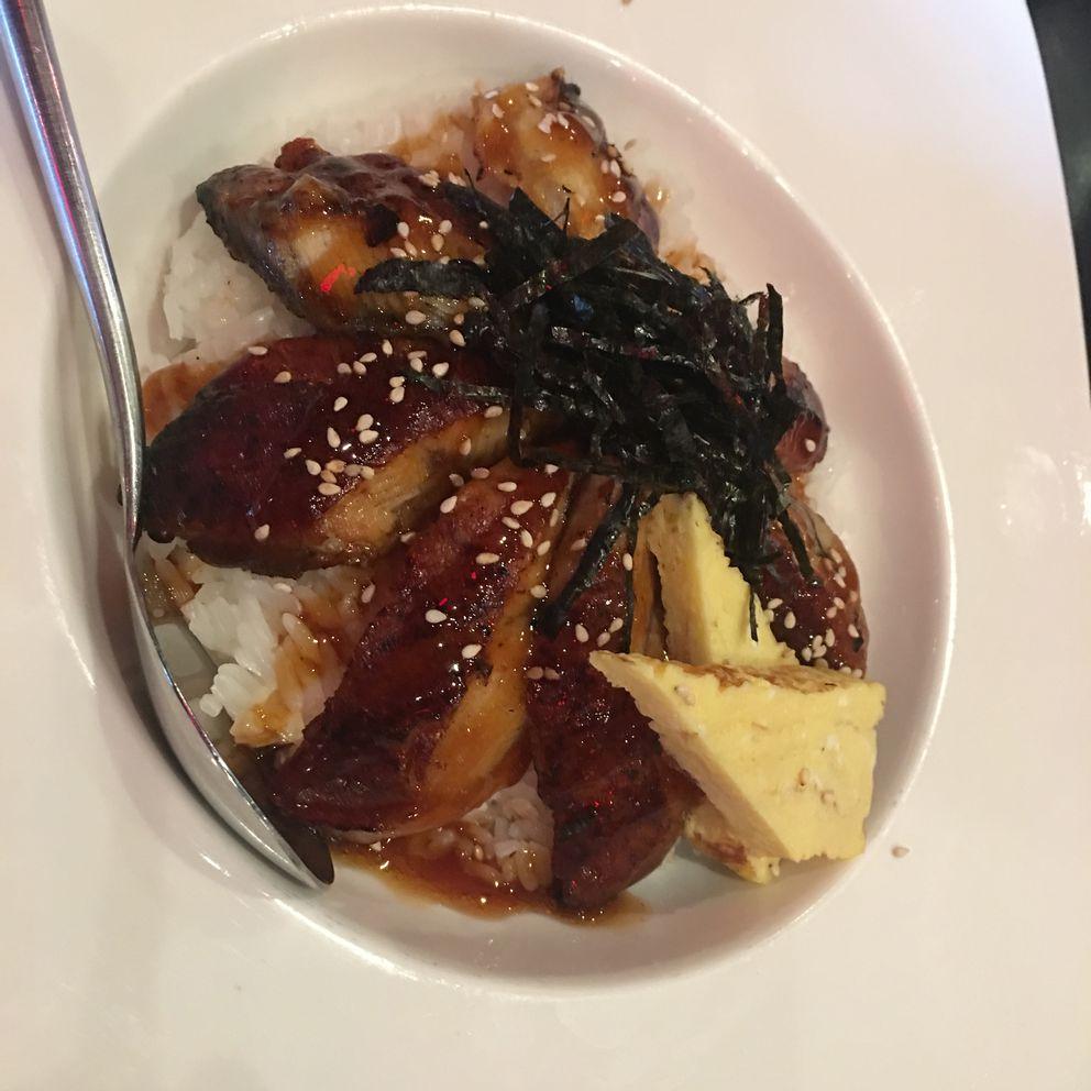 Lunch-sized unagi don (eel bowl) at Peter's Sushi Spot (Photo by Mara Severin)