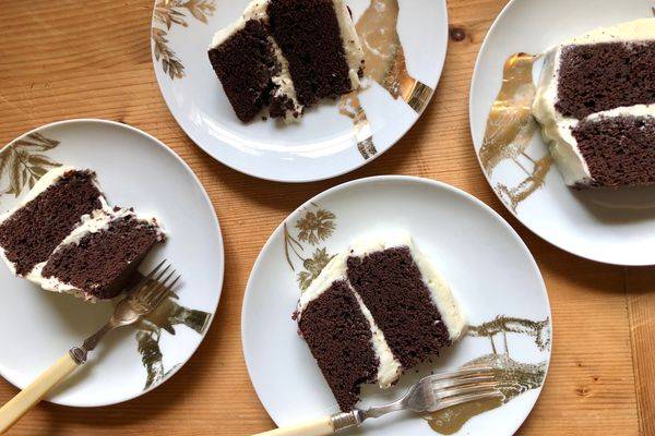 Double-layer chocolate cake with ganache and pumpkin-mascarpone frosting. (Photo by Kim Sunée)