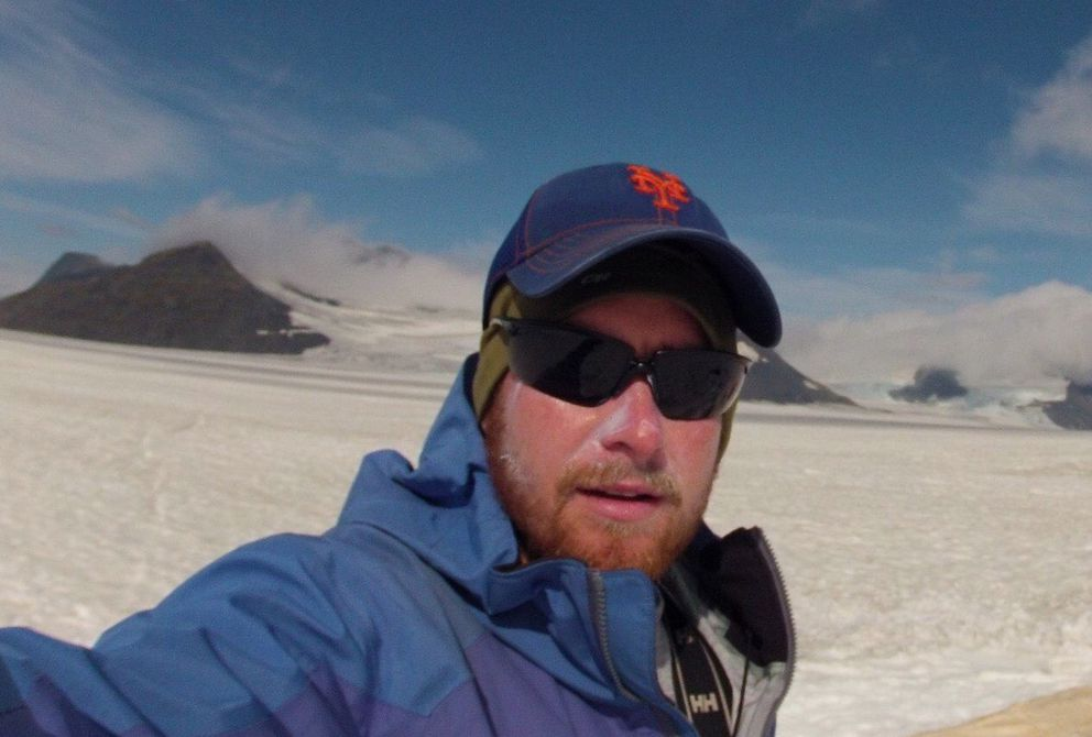 Gerard Ganey at his ice-algae study site on the Harding Icefield. (Photo by Gerard Ganey)