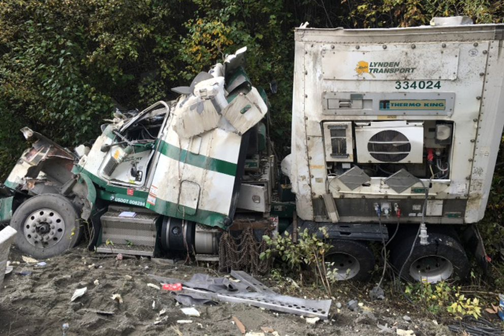 The driver survived a truck accident that scattered beer containers at Mile 106 of the Glenn Highway Tuesday morning, Sept. 13, 2016, near Caribou Creek and the Matanuska Glacier. (Courtesy Matanuska-Susitna Borough)