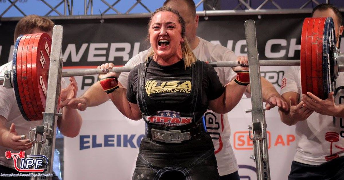 Natalie Hanson broke a world record with a squat of 603 pounds Friday at the International Powerlifting Federation open world championships in Pilsen, Czech Republic. (Heinrich Janse Van Rensburg / International Powerlifting Federation)