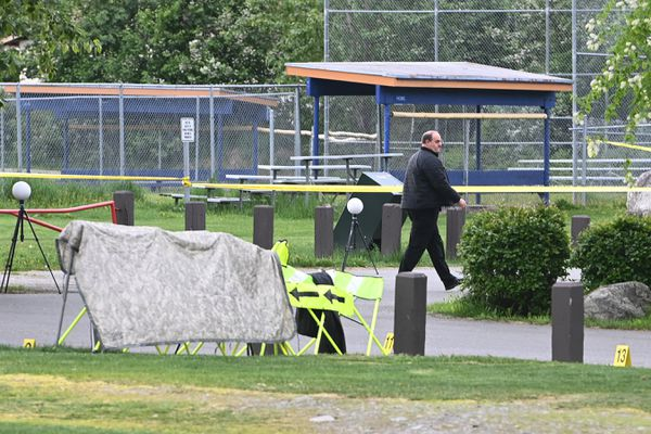Anchorage Police investigate a homicide scene where a woman found dead early Tuesday at the Nunaka Valley baseball fields on Tuesday, June 8, 2021. (Bill Roth / ADN)