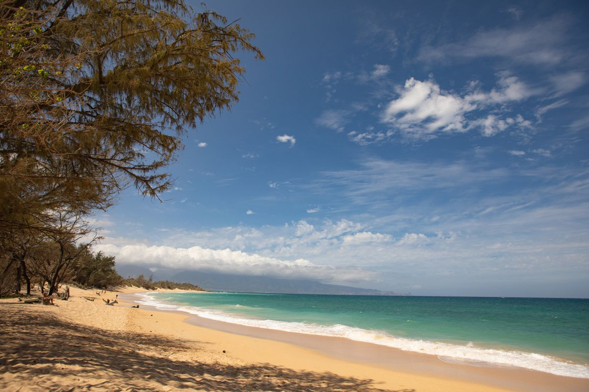 Baldwin Beach is empty in Paia, Hawaii, in October 2020. (Photo for The Washington Post by Anna Kim)