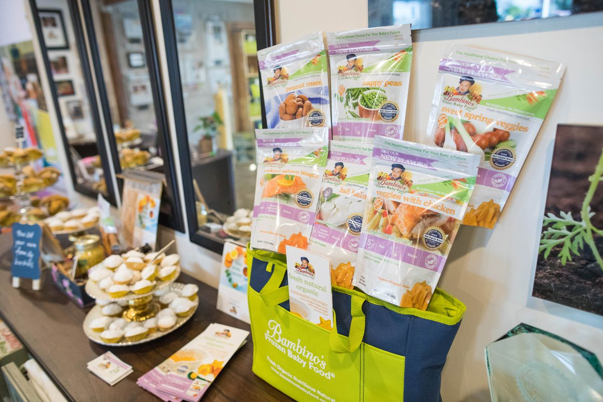 A display at Bambino's Baby Food on Friday, Sept. 1, 2017. Bambino's is among the 120 recipients of relief grants from the Municipality of Anchorage to help with business impacts related to the coronavirus crisis. (Loren Holmes / ADN)