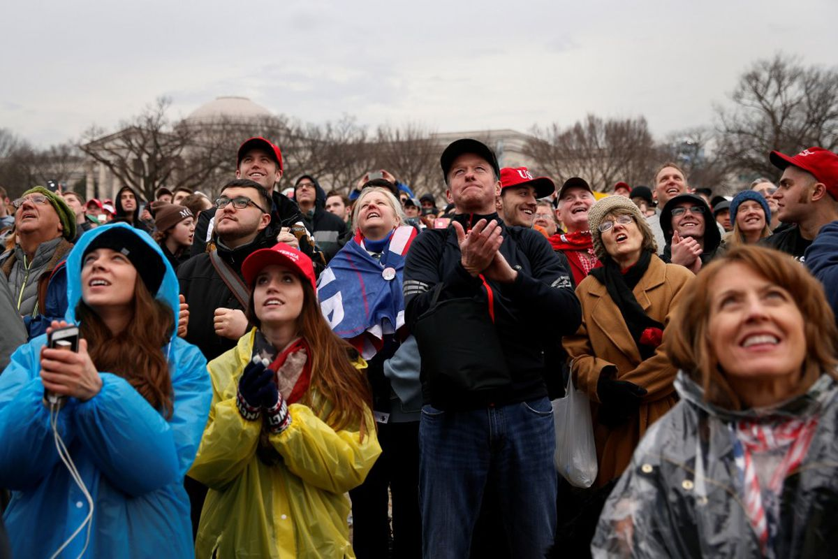 Supporters of Donald Trump gather in the National Mall during his inauguration in Washington, January 20, 2017. REUTERS/Shannon Stapleton