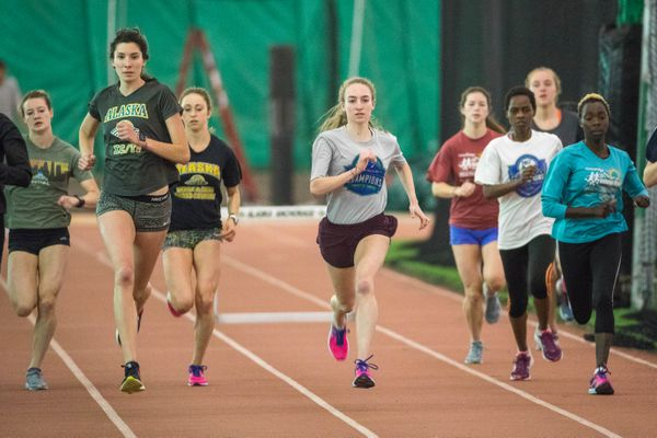 UAA runner Dani McCormick practices with her team Tuesday, May 8, 2018 at the Dome. (Loren Holmes / ADN)