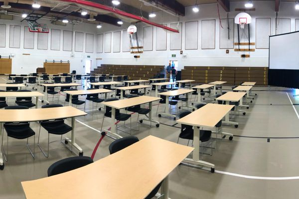 A multi-purpose room at Wasilla Middle School in preparation for a special session of the Alaska Legislature. Gov. Mike Dunleavy has called the session for Wasilla, starting Monday, but legislative leaders say they intend to meet at the state Capitol in Juneau. (Photo courtesy Matanuska-Susitna School District)