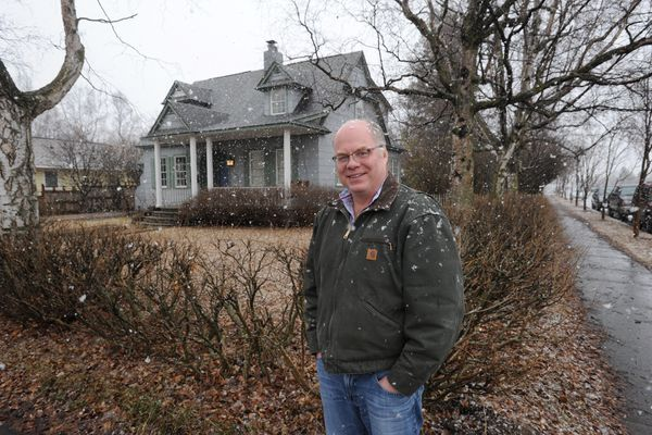 Joe Dugan is trying to save the Shonbeck House across from the Delaney Park Strip from being demolished by a developer who is planning a new development on the property. Dugan would like to move the home to a lot he owns about a block away in South Addition. Wednesday, April 17, 2019. (Bill Roth / ADN)