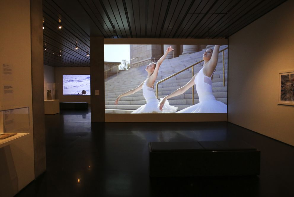 Marja Helander's 'Birds in the Earth ' is projected onto a wall at the Anchorage Museum as part of the 'Extra Tough: Women of the North ' exhibit. Photographed on Nov. 10, 2020. (Emily Mesner / ADN)