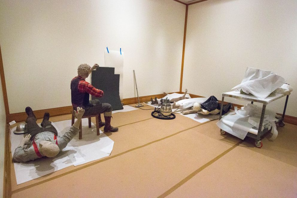 Mannequins from dioramas in the Alaska Gallery are stored in a temporary space on the first floor of the Anchorage Museum. (Loren Holmes / Alaska Dispatch News)