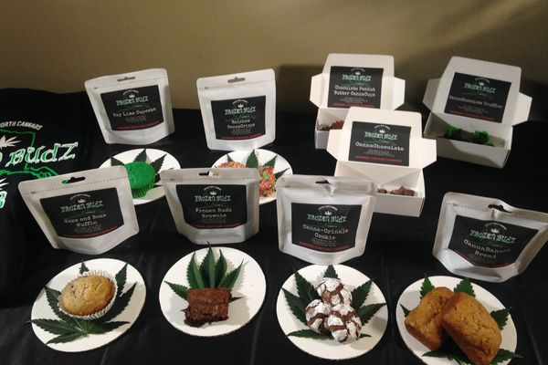 Frozen Budz products displayed at co-owner Destiny Neade's Fairbanks home in May 2016. Some product names have since been changed. (Laurel Andrews / Alaska Dispatch News)