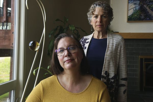 Jenny Loudon, left, and Beth Rose, co-founders of the Alaska Eating Disorders Alliance, photographed in Anchorage on Tuesday, June 1, 2021. (Emily Mesner / ADN)