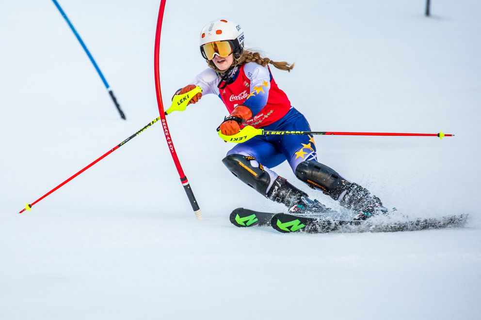 Piper Sage rounds a gate during slalom action Sunday at Alyeska. (Photo by Robert Eastaugh)