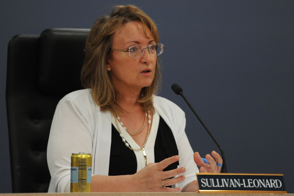 Rep. Colleen Sullivan-Leonard, R-Wasilla, speaks during the Alaska House Finance Committee meeting in Anchorage on Monday morning, July 15, 2019. (Bill Roth / ADN)