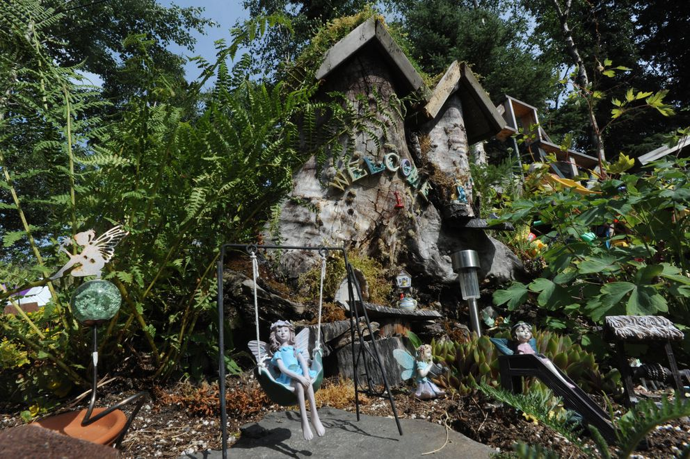 Fairy garden in the backyard of Nancy Grant's South Anchorage home on Thursday, July 18, 2019. (Bill Roth / ADN)