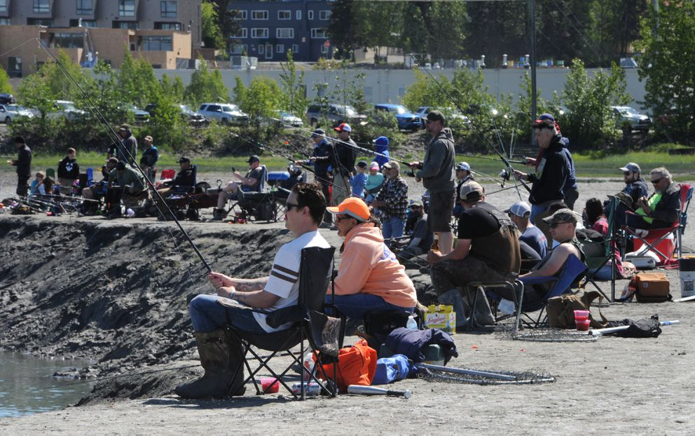 Anglers lined the muddy banks of Ship Creek while fishing for chinook salmon near downtown Anchorage on Sunday. (Bill Roth / ADN)