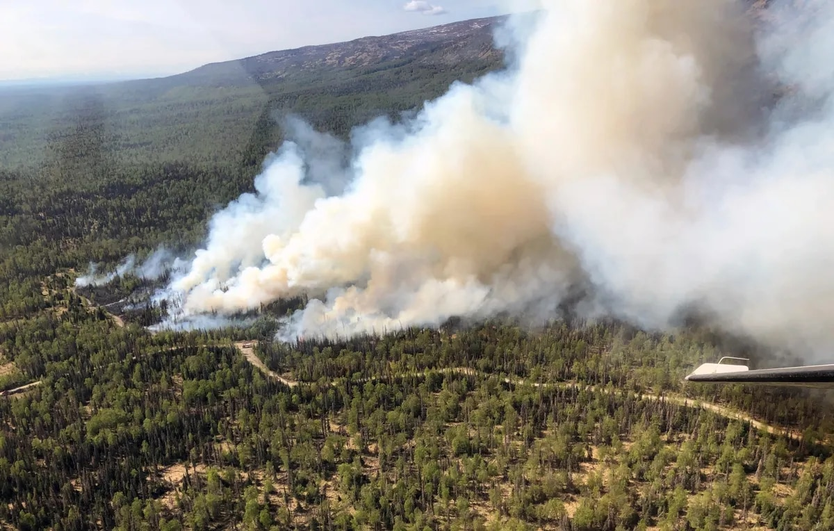 An aerial view of the initial stages of the Moose Meadows Fire that was reported at 2:23 p.m. on Saturday, May 16, 2020. (Photo by Duane Morris/Alaska Division of Forestry)
