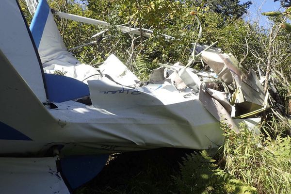 The wreckage from a Piper PA-18-150 involved in an August 2016 mid-air collision with a Cessna 208B Caravan near Russian Mission came to rest about a half-mile from the Cessna wreckage.