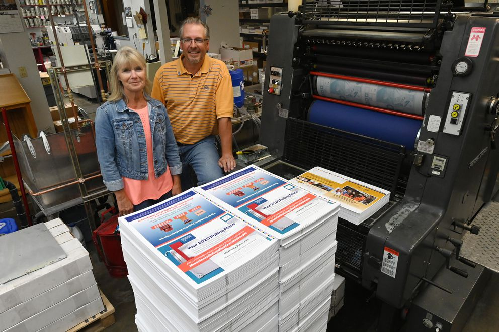 Deanna and Richard Teders, co-owners of Color Art Printing, which has a dozen employees on the payroll, on Wednesday, July 22, 2020. (Bill Roth / ADN)