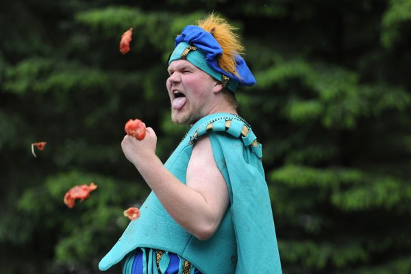 Bill Roth / Alaska Dispatch News The Tomato Show, Shakespeare's Hamlet, during the 3 Barons Renaissance Fair at Tozier Track in Anchorage on Sunday, June 7, 2015.