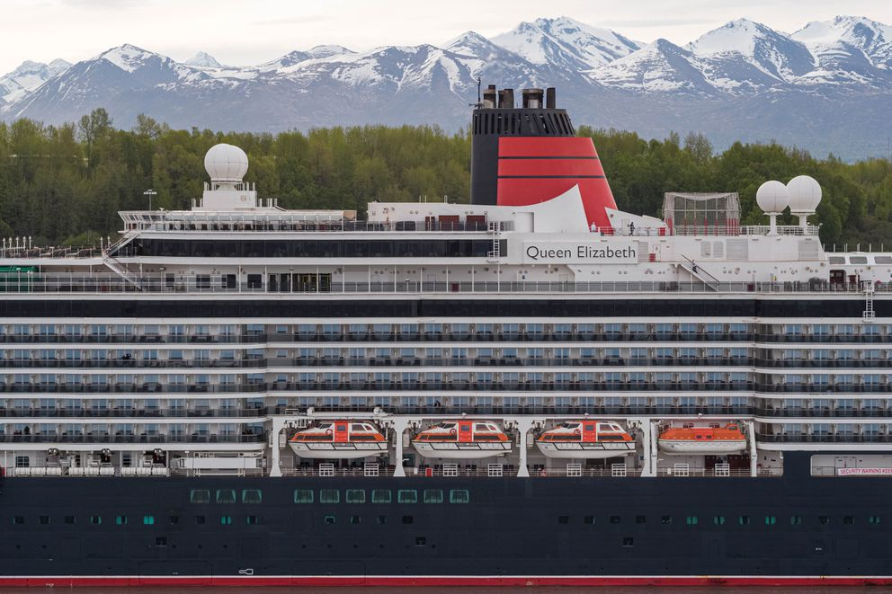 The MS Queen Elizabeth is docked at the Port of Alaska on Thursday. (Loren Holmes / ADN)