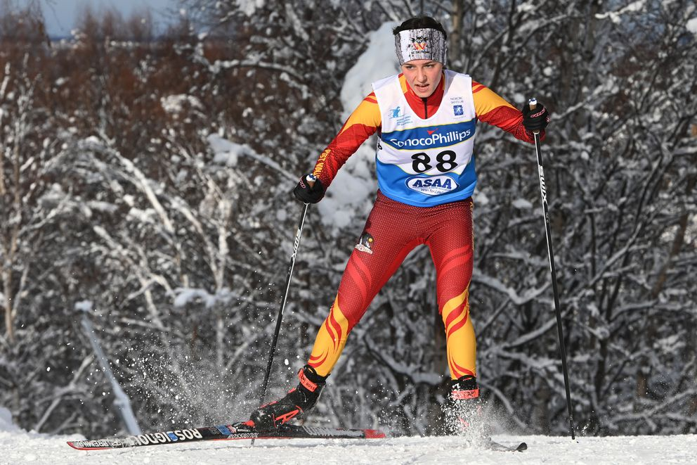 West Valley senior Kendall Kramer skis to the 5K freestyle victory at this year's state high school championships at Kincaid Park. (Bill Roth / ADN)
