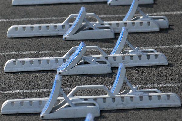 Starting blocks at a track and field meet. (Matt Tunseth / Chugiak-Eagle River Star)