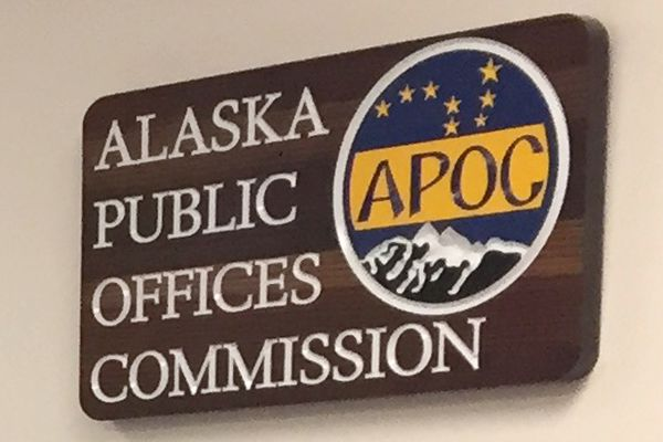 Tuesday, Sept. 25, 2018. Alaska Public Offices Commission sign. (Alex DeMarban / ADN)