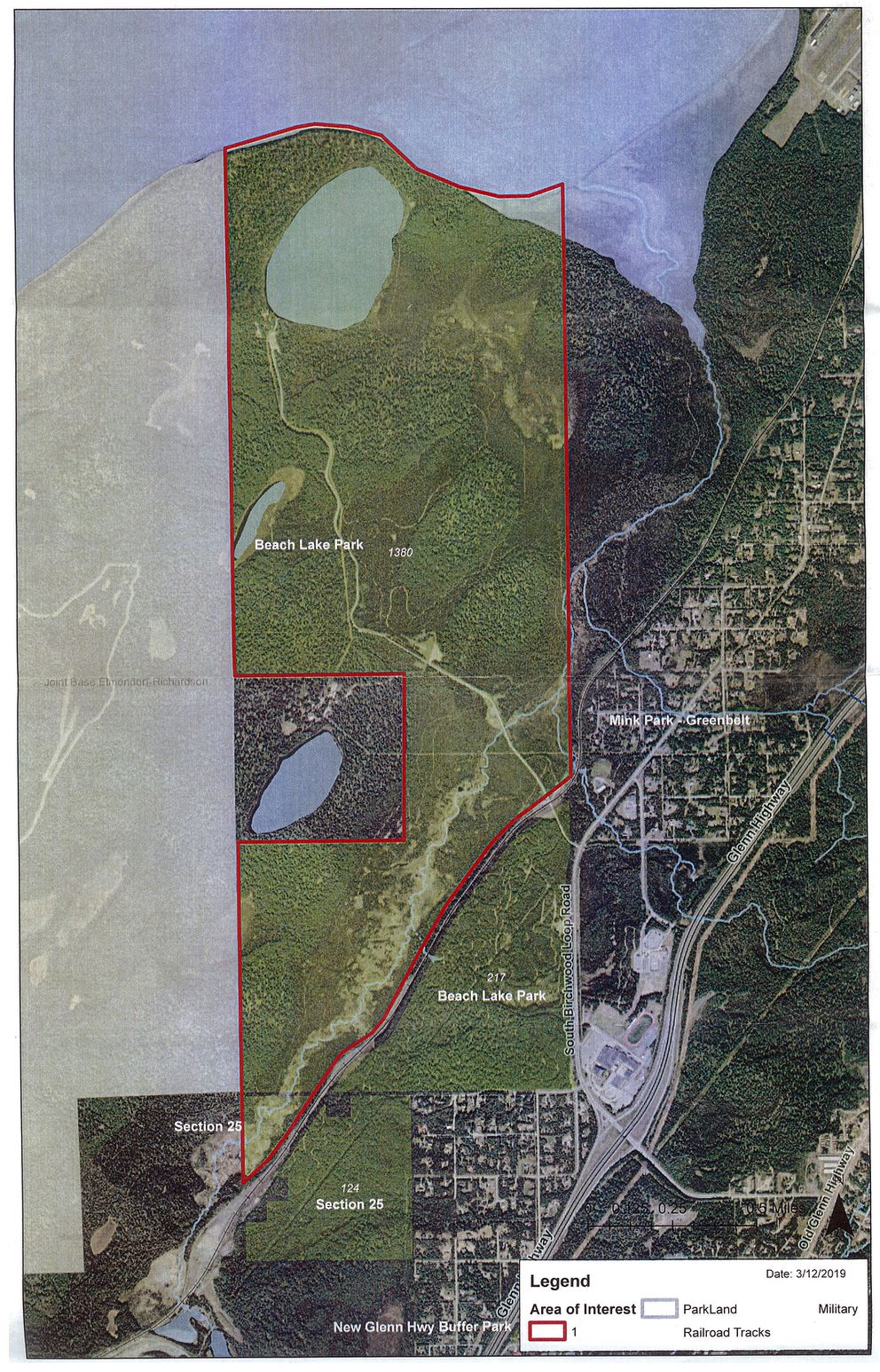 A map showing the area of Beach Lake Park under consideration for a conservation land easement. (Courtesy Eagle River-Chugiak Parks and Recreation)