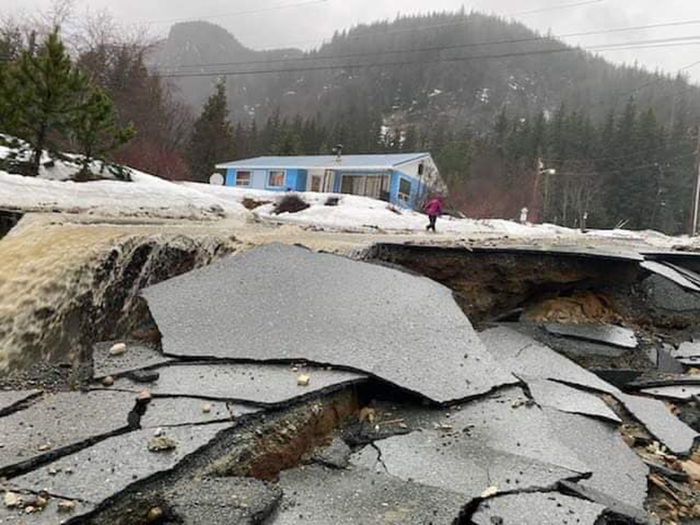 A record-breaking rainstorm triggered destructive avalanches, landslides and flooding in Haines, Alaska on Wednesday, Dec. 2, 2020. (Photo courtesy of Trevor Barrett)