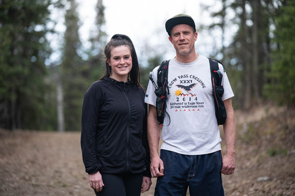 Rick Hansen poses for a photo with his daughter Brianna on Friday, the day after completing a 100-kilometer run through Anchorage. Brianna ran 3 of the 62 miles with him. (Loren Holmes / ADN)