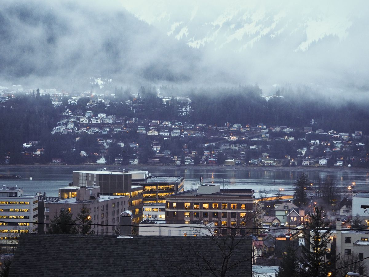 Downtown Juneau and the Alaska Capitol earlier this year. (Marc Lester / ADN)