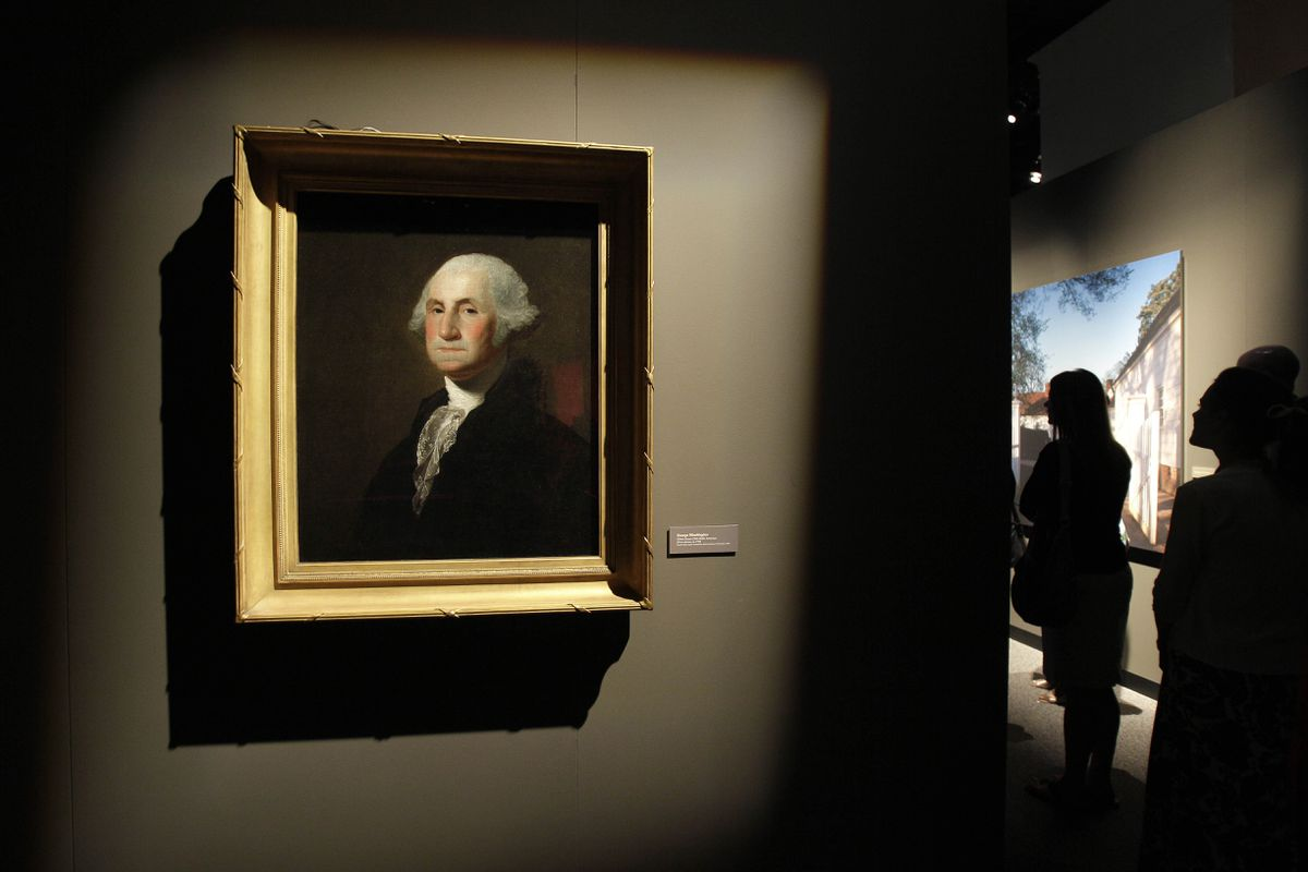 A portrait of George Washington by Gilbert Stuart is seen in the
