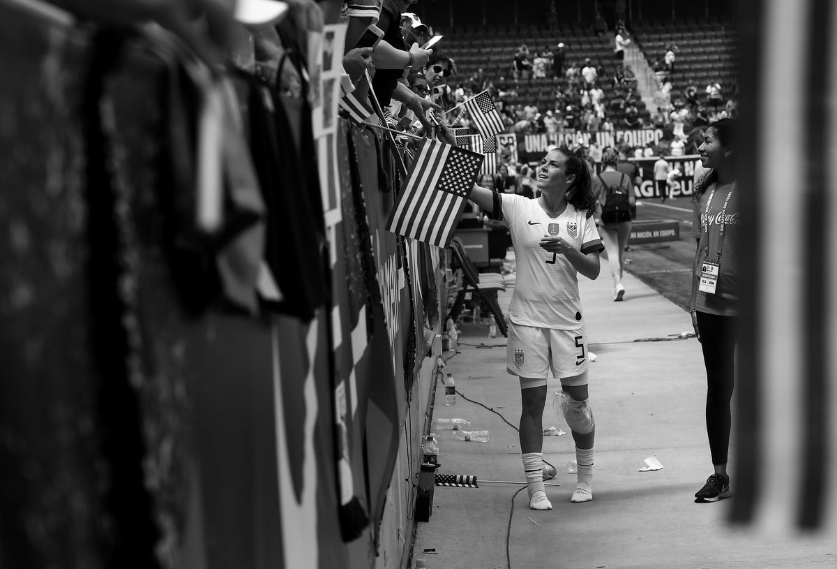 United States defender Kelley O'Hara signs autographs for fans after a match between the U.S. and Mexico on May 26, 2019. (Washington Post photo by Toni L. Sandys)