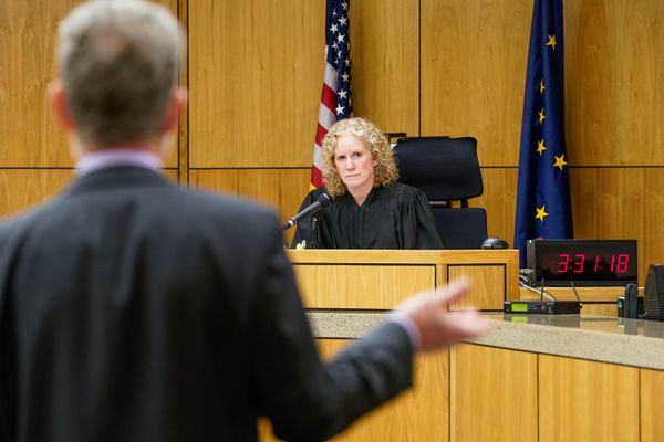 Superior Court Judge Jennifer Henderson listens to Stephen Koteff, legal director for the American Civil Liberties Union Alaska, during oral arguments in a lawsuit brought by the ACLU against Gov. Mike Dunleavy on Tuesday, Nov. 5, 2019 at the Boney Courthouse in Anchorage. The lawsuit alleges that Gov. Mike Dunleavy's veto of nearly $335,000 from the state court system budget was unconstitutional and retaliatory. (Loren Holmes / ADN)