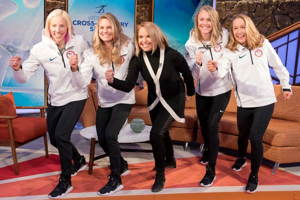 Katie Couric, center, with members of the U.S. women's cross-country team. MUST CREDIT: Reese Brown, U.S Ski and Snowboard