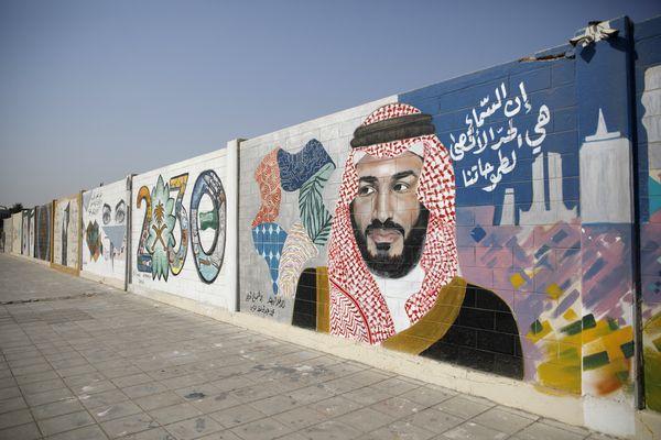 A wall mural displays the '2030 Vision' logo and Saudi Arabia's Crown Prince Mohammed bin Salman in Dhahran, Saudi Arabia, onOct. 4, 2018. MUST CREDIT: Bloomberg photo by Simon Dawson