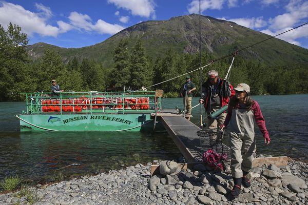 Karen and Steve Anderson depart the Russian River Ferry to fish for sockeye salmon in the Kenai River in Cooper Landing on Sunday, June 13, 2021. (Emily Mesner / ADN)