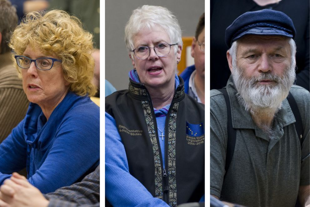 From left, Republican Reps. Gabrielle LeDoux of Anchorage, Louise Stutes of Kodiak and Paul Seaton of Homer (File photos by Marc Lester / ADN)