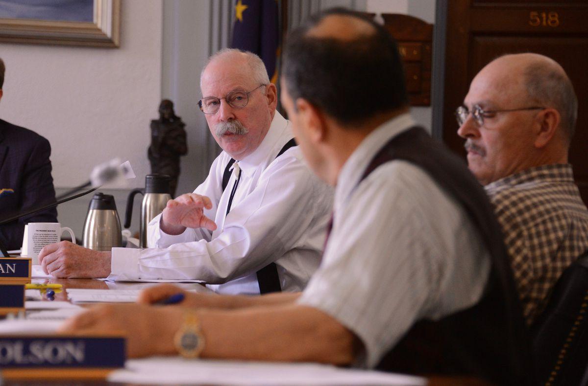 Sen. Bert Stedman, R-Sitka, talks to Sen. Donny Olson, D-Golovin, during the final budget conference committee of the 2021 legislative session on Sunday, June 13, 2021 at the Alaska State Capitol in Juneau. (James Brooks / ADN)
