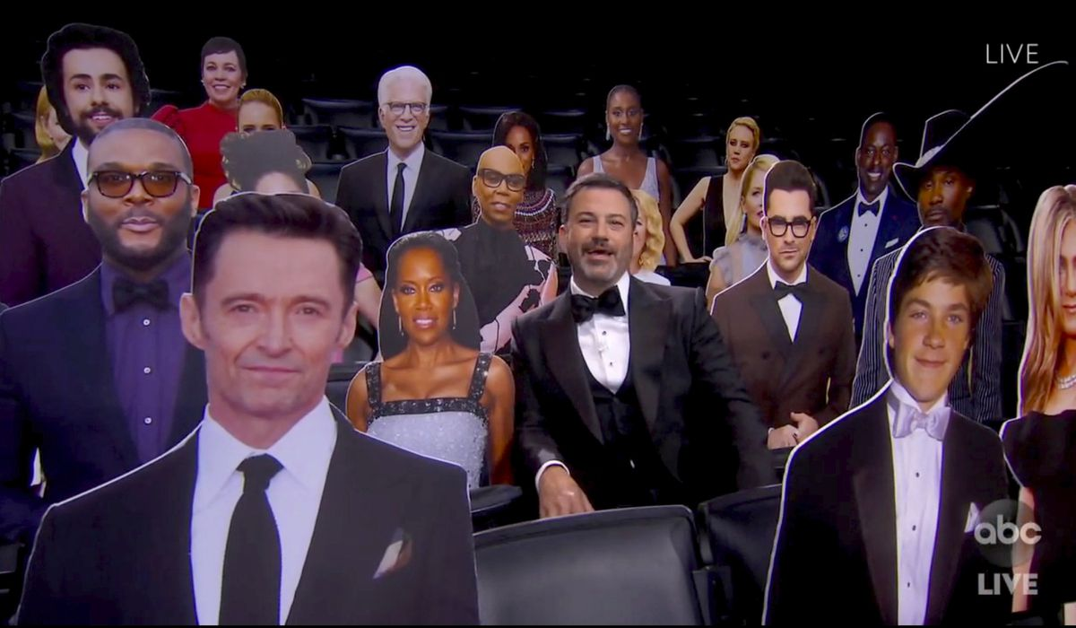 In this video grab captured on Sept. 20, 2020, courtesy of the Academy of Television Arts & Sciences and ABC Entertainment, host Jimmy Kimmel speaks surrounded by cardboard cutouts of actors in the audience during the 72nd Emmy Awards broadcast. (The Television Academy and ABC Entertainment via AP)