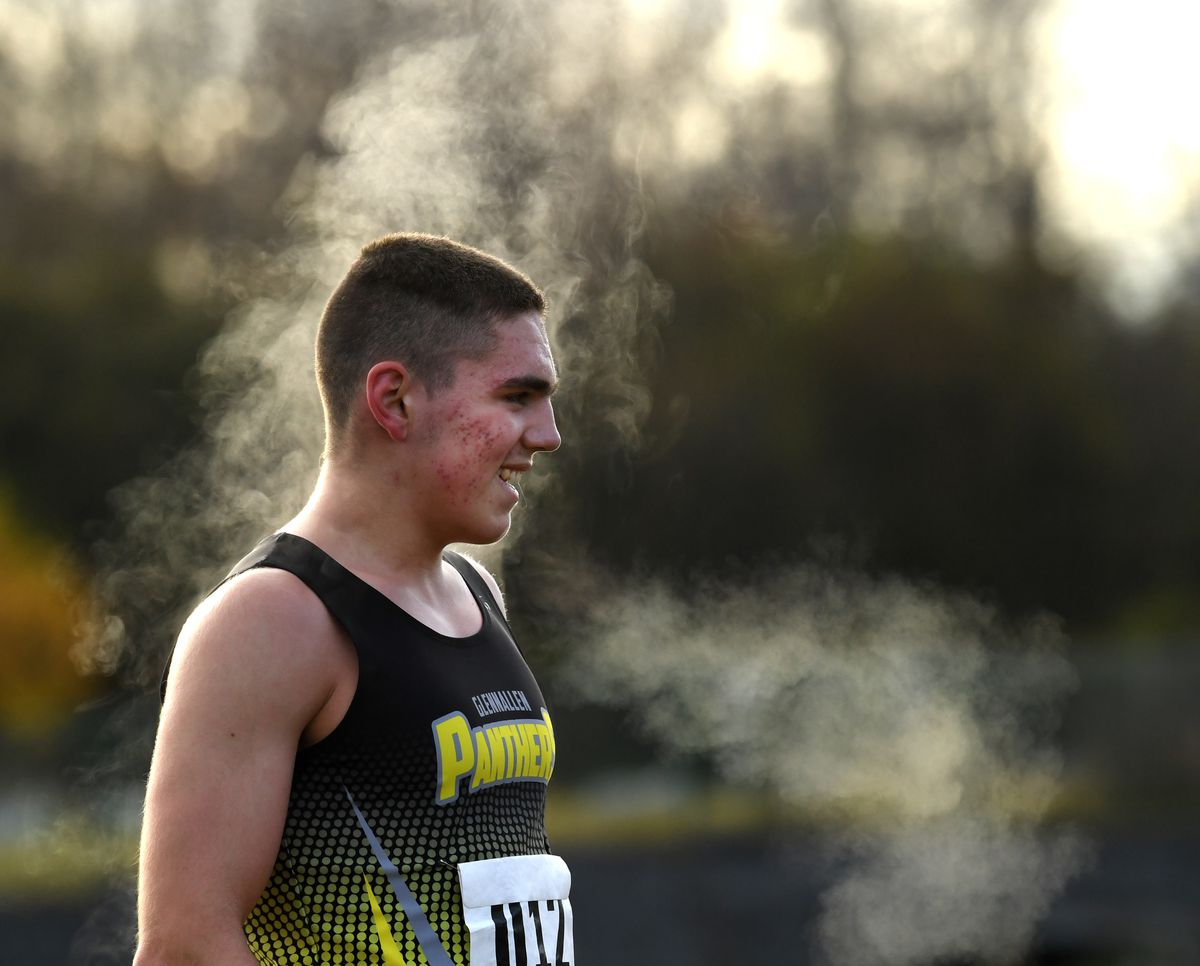 Steam rises off of Kael Gerlach of Glennallen after he won the DIII Alaska state cross-country championships with a time of 17:14 at Kincaid Park on Saturday. (Photo by Bob Hallinen)