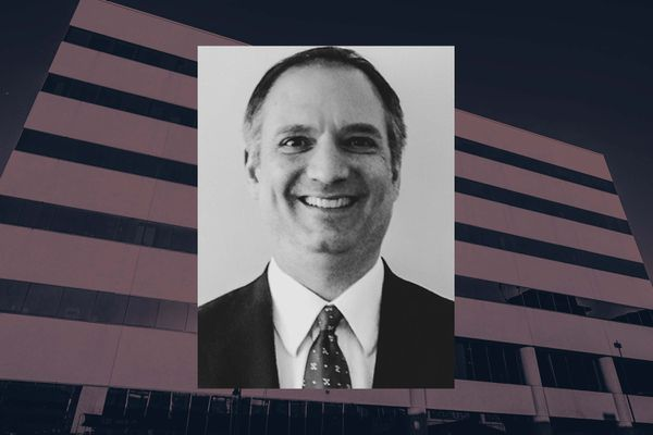 Ed Sniffen, office building where Alaska Dept. of Law in Anchorage is located. (Photo illustration by ProPublica, photo by National Association of Attorneys General, Loren Holmes/ADN)