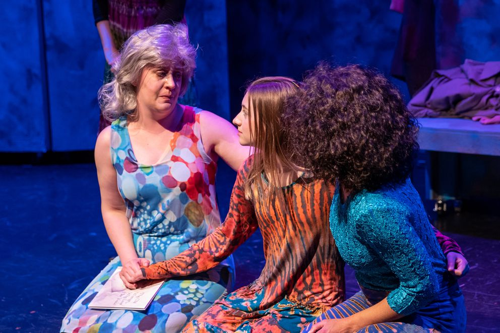 Jacqueline Hoffman, Masey Steel and Boogie Willis in 'The Woman Who Lost Her Voice, ' a new play by Anchorage playwright Jill Bess. (Photo by George Stransky)