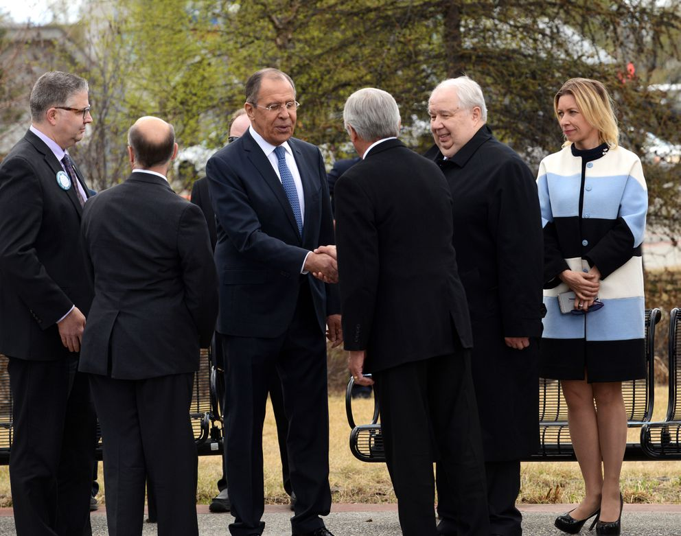 Russian Foreign Minister Sergey Lavrov shakes hands with Alaska Lt. Gov. Byron Mallott after a wreath-laying ceremony at the Lend-Lease Monument in Fairbanks Alaska on Thursday. (Bob Hallinen / Alaska Dispatch News)