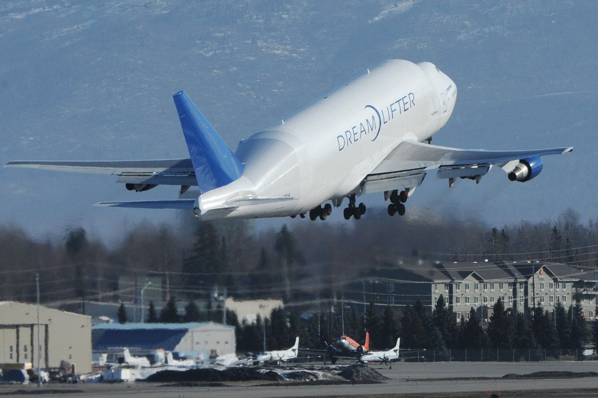 Boeing 747-400 large cargo freighter takes off to the East at Ted Stevens Anchorage International Airport on Thursday, March 28, 2019. The North-South runway at will be closed from April 1 until October for construction work on the runway. (Bill Roth / ADN)