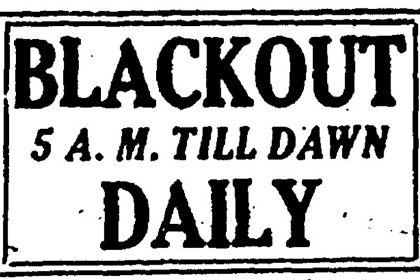 Blackout announcement published on the front page of the Anchorage Daily Times Dec. 9, 1941.