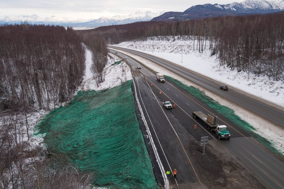 The Alaska Department of Transportation completed repairs to the Glenn Highway at Mirror Lake, opening all lanes to traffic on Wednesday. The highway was damaged during the Nov. 30 7.0 earthquake. (Loren Holmes / ADN)