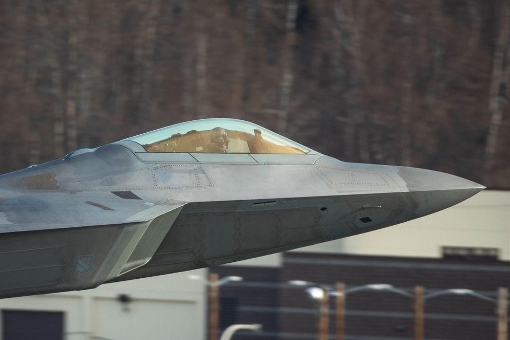 A close-up of an Air Force F-22 as it takes off from its home base at Joint Base Elmendorf-Richardson.(Loren Holmes / Alaska Dispatch News)